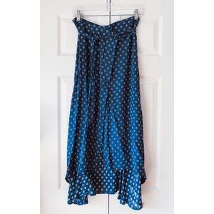 Faithfull The Brand blue floral wrap midi skirt 4